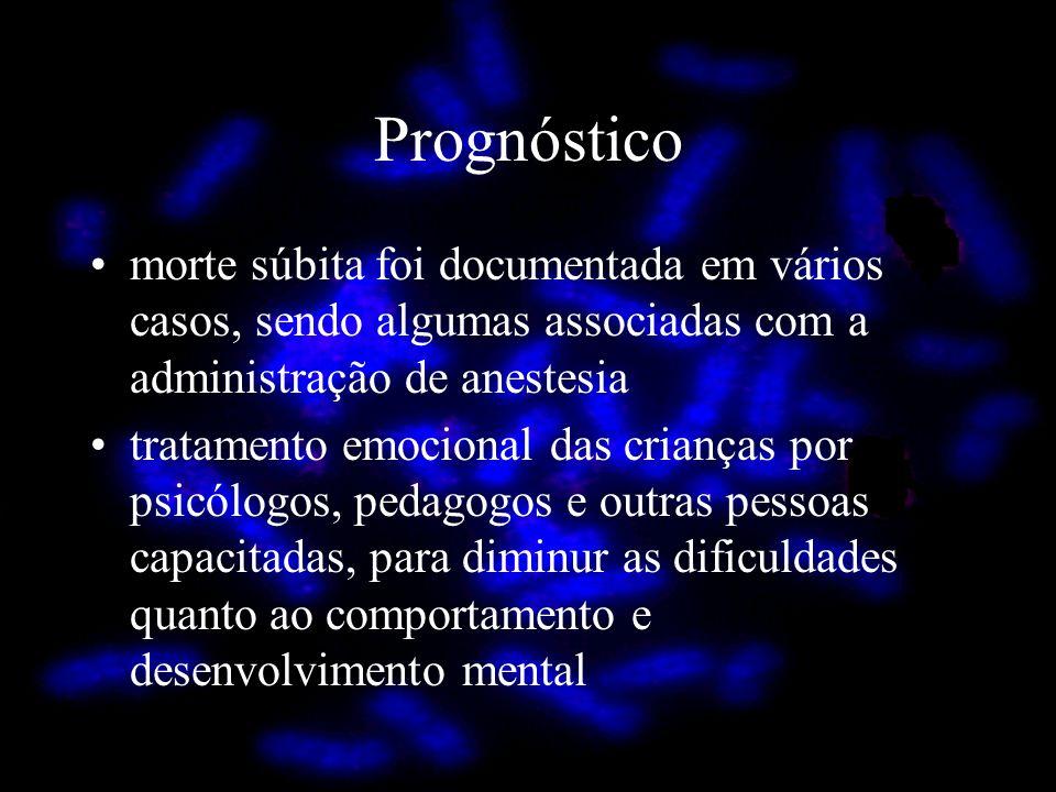 Prognóstico morte súbita foi documentada em vários casos, sendo algumas associadas com a administração de anestesia tratamento emocional das crianças