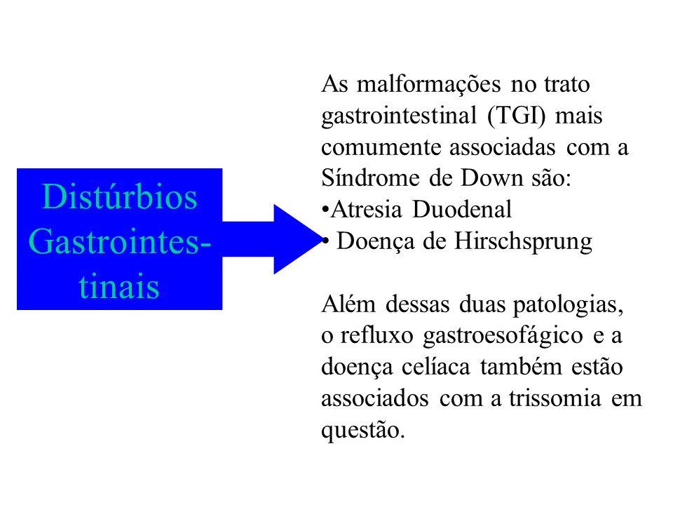 As malformações no trato gastrointestinal (TGI) mais comumente associadas com a Síndrome de Down são: Atresia Duodenal Doença de Hirschsprung Além des