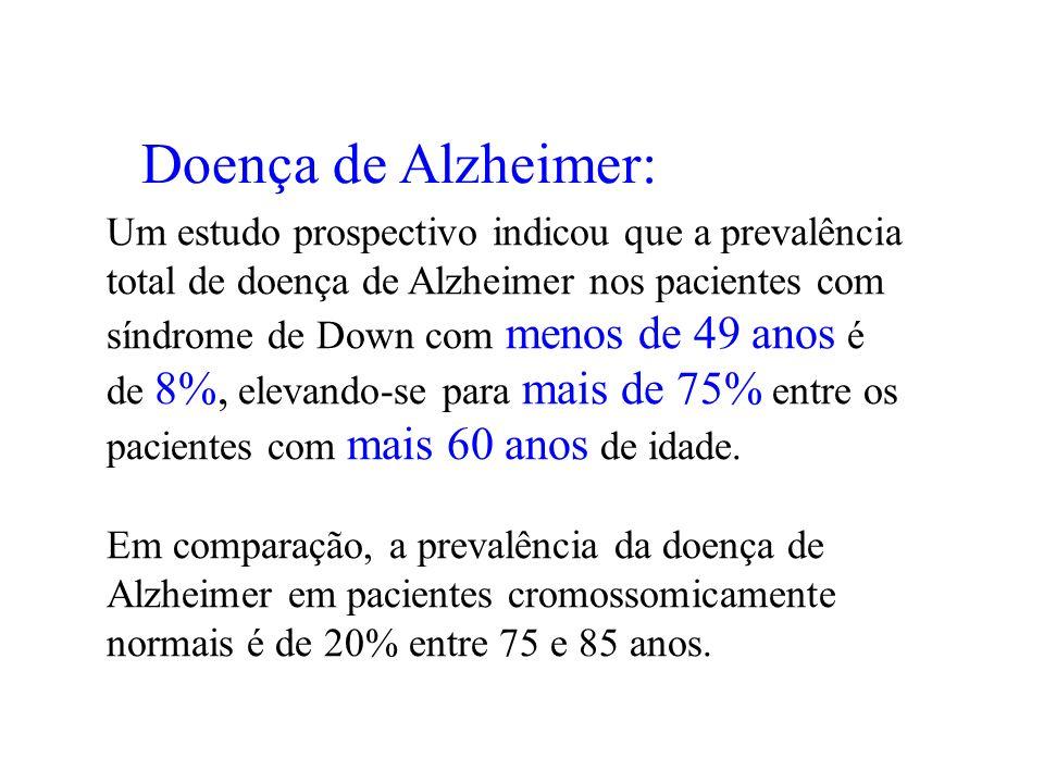 Doença de Alzheimer: Um estudo prospectivo indicou que a prevalência total de doença de Alzheimer nos pacientes com síndrome de Down com menos de 49 a
