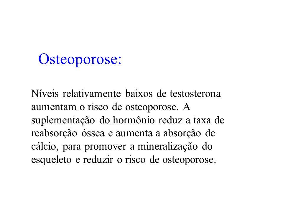 Osteoporose: Níveis relativamente baixos de testosterona aumentam o risco de osteoporose. A suplementação do hormônio reduz a taxa de reabsorção óssea