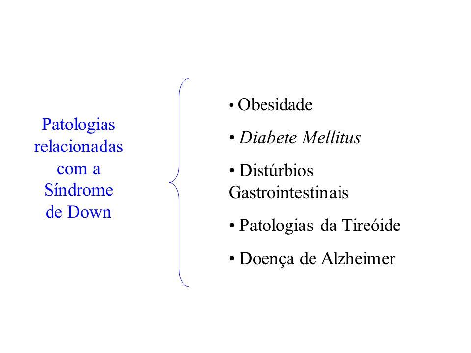 Patologias relacionadas com a Síndrome de Down Obesidade Diabete Mellitus Distúrbios Gastrointestinais Patologias da Tireóide Doença de Alzheimer