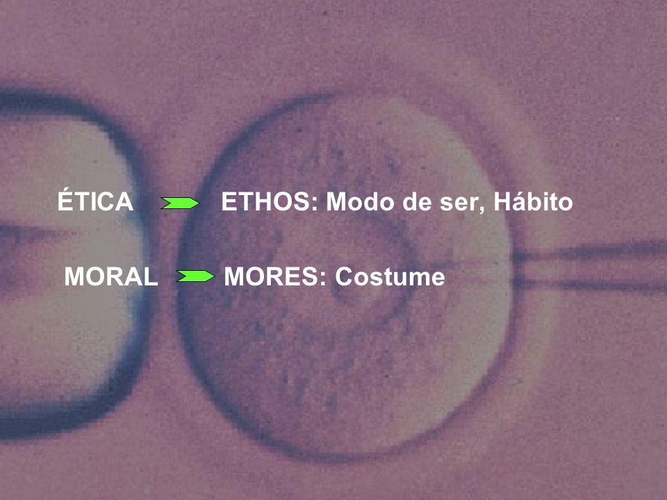 ÉTICA ETHOS: Modo de ser, Hábito MORAL MORES: Costume