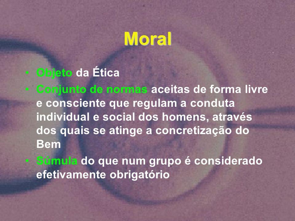 Moral Objeto da Ética Conjunto de normas aceitas de forma livre e consciente que regulam a conduta individual e social dos homens, através dos quais s