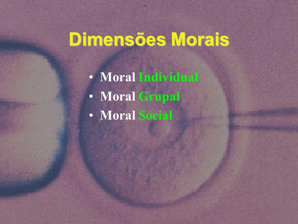 Dimensões Morais Moral Individual Moral Grupal Moral Social