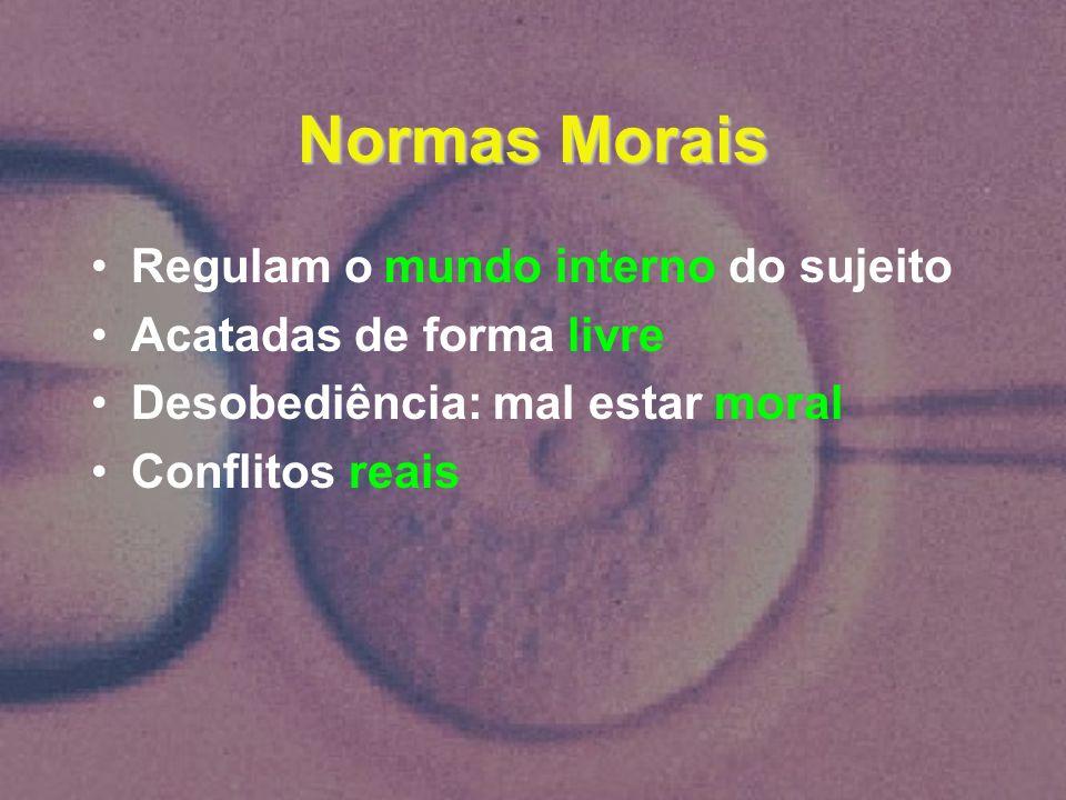 Normas Morais Regulam o mundo interno do sujeito Acatadas de forma livre Desobediência: mal estar moral Conflitos reais