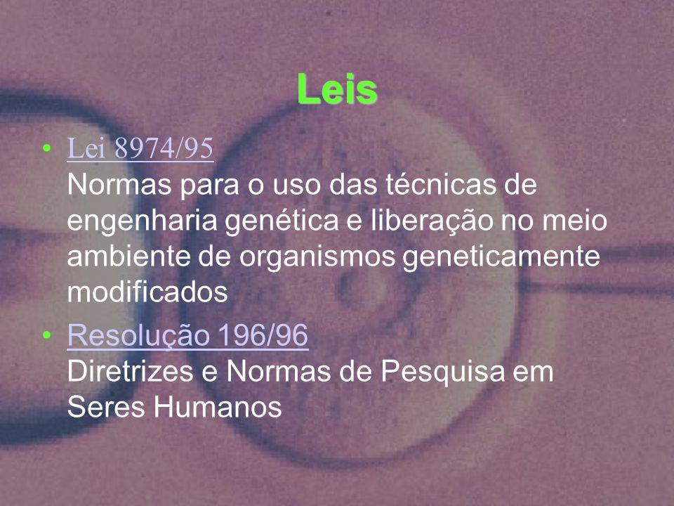Leis Lei 8974/95 Normas para o uso das técnicas de engenharia genética e liberação no meio ambiente de organismos geneticamente modificadosLei 8974/95