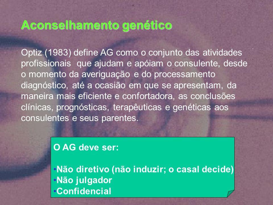 Aconselhamento genético Optiz (1983) define AG como o conjunto das atividades profissionais que ajudam e apóiam o consulente, desde o momento da averi