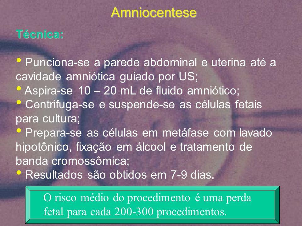 Amniocentese Técnica: Punciona-se a parede abdominal e uterina até a cavidade amniótica guiado por US; Aspira-se 10 – 20 mL de fluido amniótico; Centr
