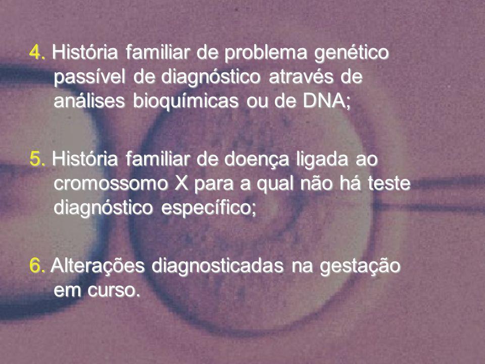 4. História familiar de problema genético passível de diagnóstico através de análises bioquímicas ou de DNA; 5. História familiar de doença ligada ao