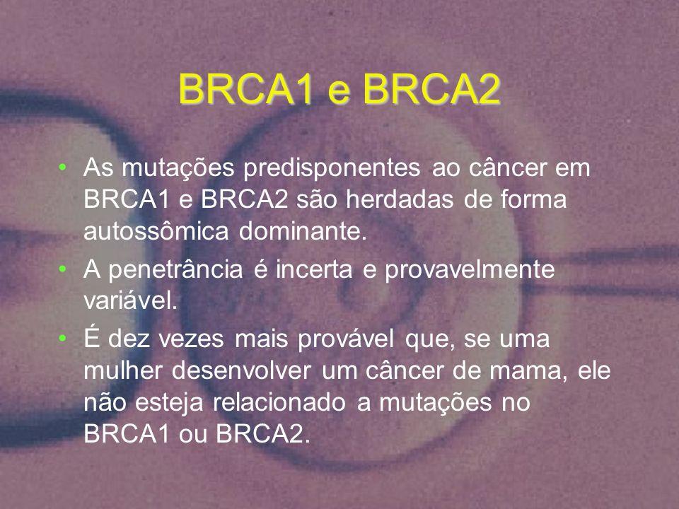 BRCA1 e BRCA2 As mutações predisponentes ao câncer em BRCA1 e BRCA2 são herdadas de forma autossômica dominante. A penetrância é incerta e provavelmen