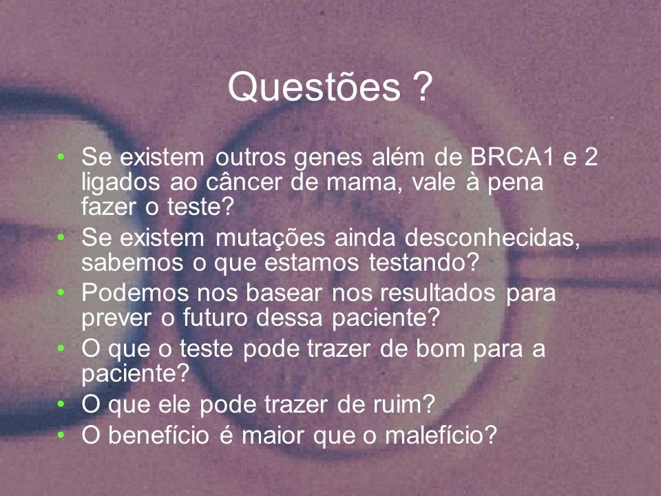 Questões ? Se existem outros genes além de BRCA1 e 2 ligados ao câncer de mama, vale à pena fazer o teste? Se existem mutações ainda desconhecidas, sa