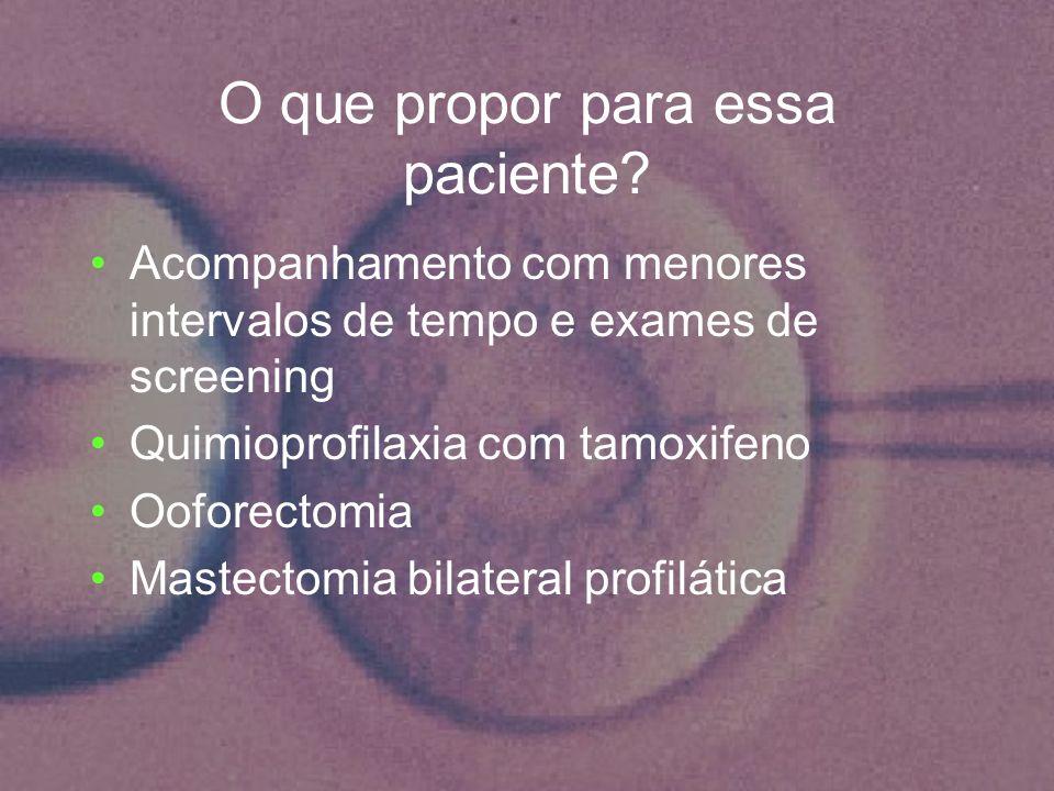 O que propor para essa paciente? Acompanhamento com menores intervalos de tempo e exames de screening Quimioprofilaxia com tamoxifeno Ooforectomia Mas