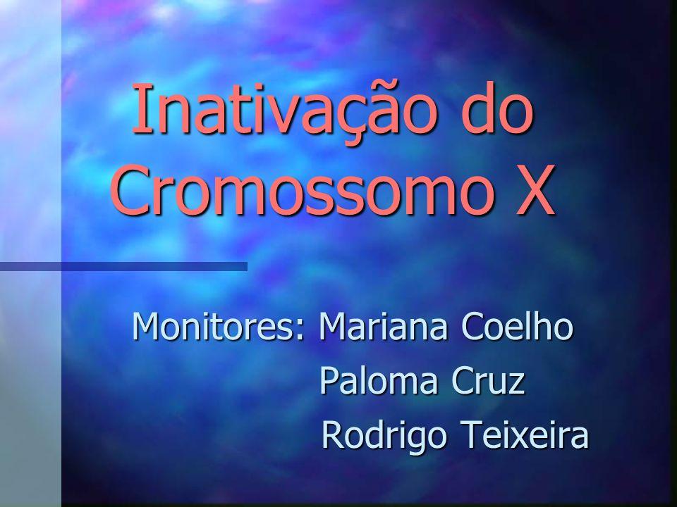 Inativação do Cromossomo X Inativação do Cromossomo X Monitores: Mariana Coelho Paloma Cruz Paloma Cruz Rodrigo Teixeira Rodrigo Teixeira