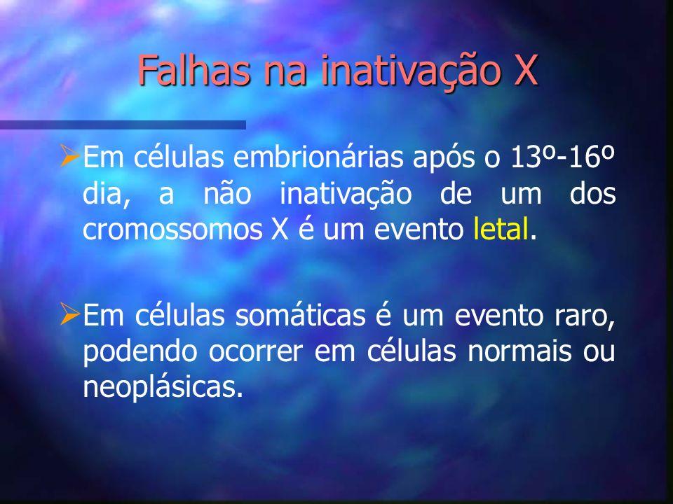 Falhas na inativação X Em células embrionárias após o 13º-16º dia, a não inativação de um dos cromossomos X é um evento letal. Em células somáticas é