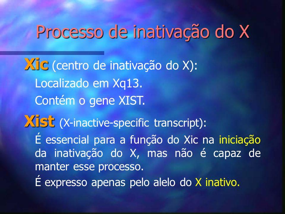 Processo de inativação do X Xic Xic (centro de inativação do X): Localizado em Xq13. Contém o gene XIST. Xist Xist (X-inactive-specific transcript): É