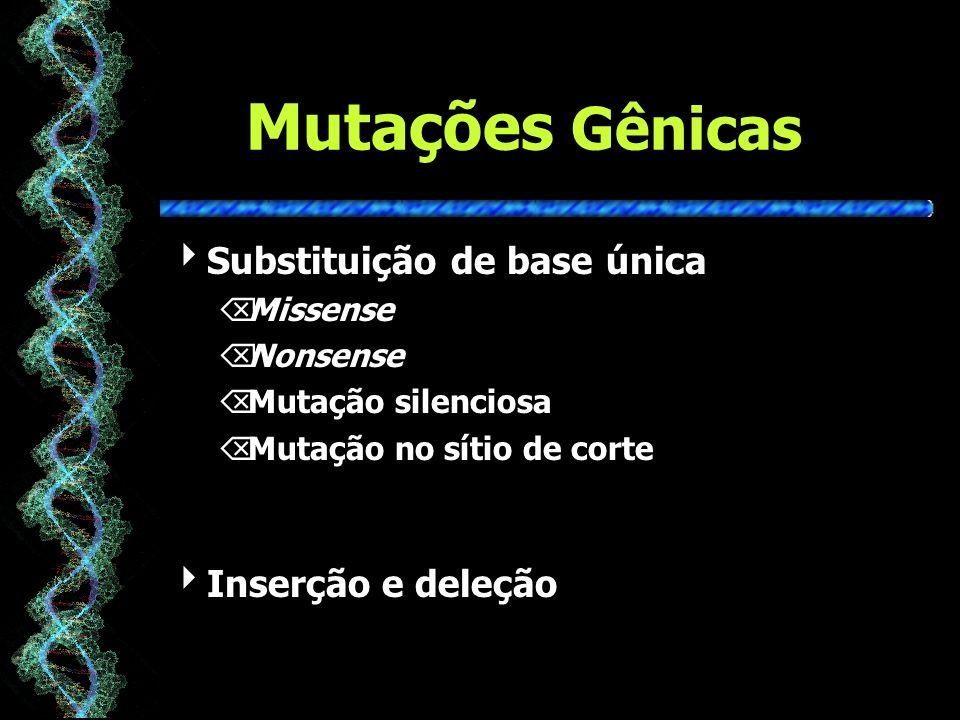Mutações Gênicas Substituição de base única ÕMissense ÕNonsense ÕMutação silenciosa ÕMutação no sítio de corte Inserção e deleção