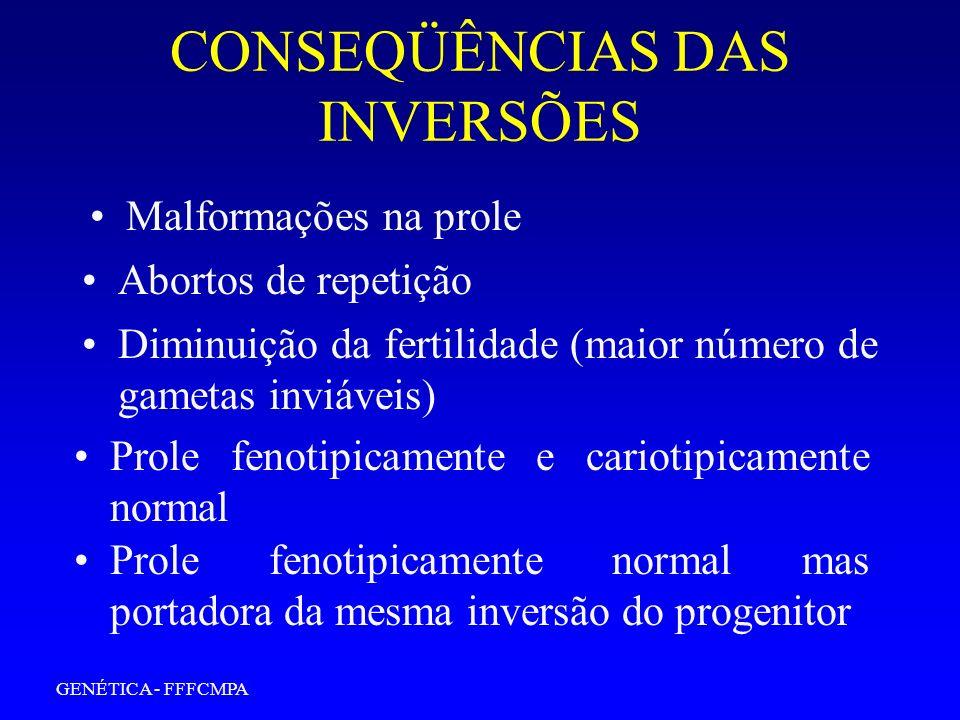 GENÉTICA - FFFCMPA CONSEQÜÊNCIAS DAS INVERSÕES Abortos de repetição Malformações na prole Diminuição da fertilidade (maior número de gametas inviáveis