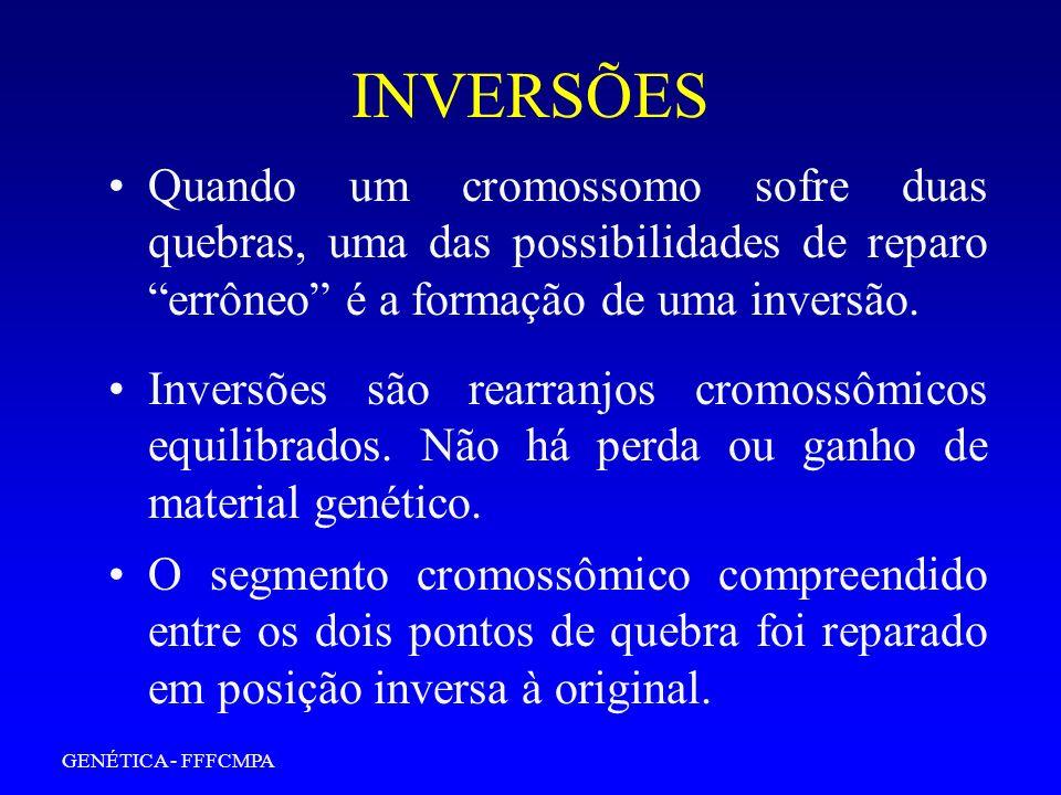 GENÉTICA - FFFCMPA INVERSÕES Inversões são rearranjos cromossômicos equilibrados. Não há perda ou ganho de material genético. Quando um cromossomo sof