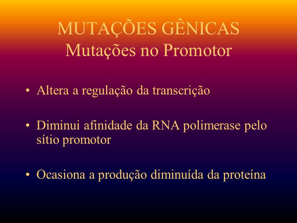 MUTAÇÕES GÊNICAS Mutações no Promotor Altera a regulação da transcrição Diminui afinidade da RNA polimerase pelo sítio promotor Ocasiona a produção di