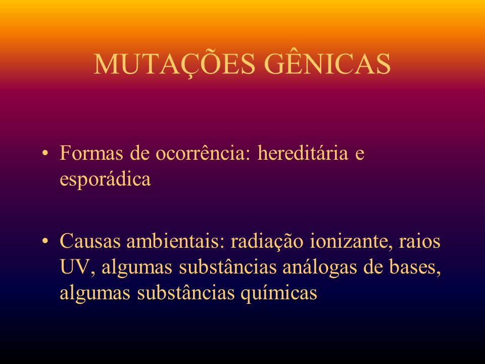 MUTAÇÕES GÊNICAS Formas de ocorrência: hereditária e esporádica Causas ambientais: radiação ionizante, raios UV, algumas substâncias análogas de bases