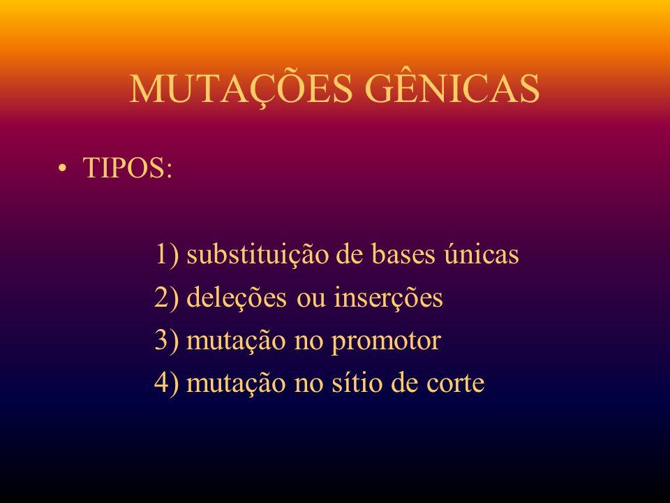 MUTAÇÕES GÊNICAS TIPOS: 1) substituição de bases únicas 2) deleções ou inserções 3) mutação no promotor 4) mutação no sítio de corte