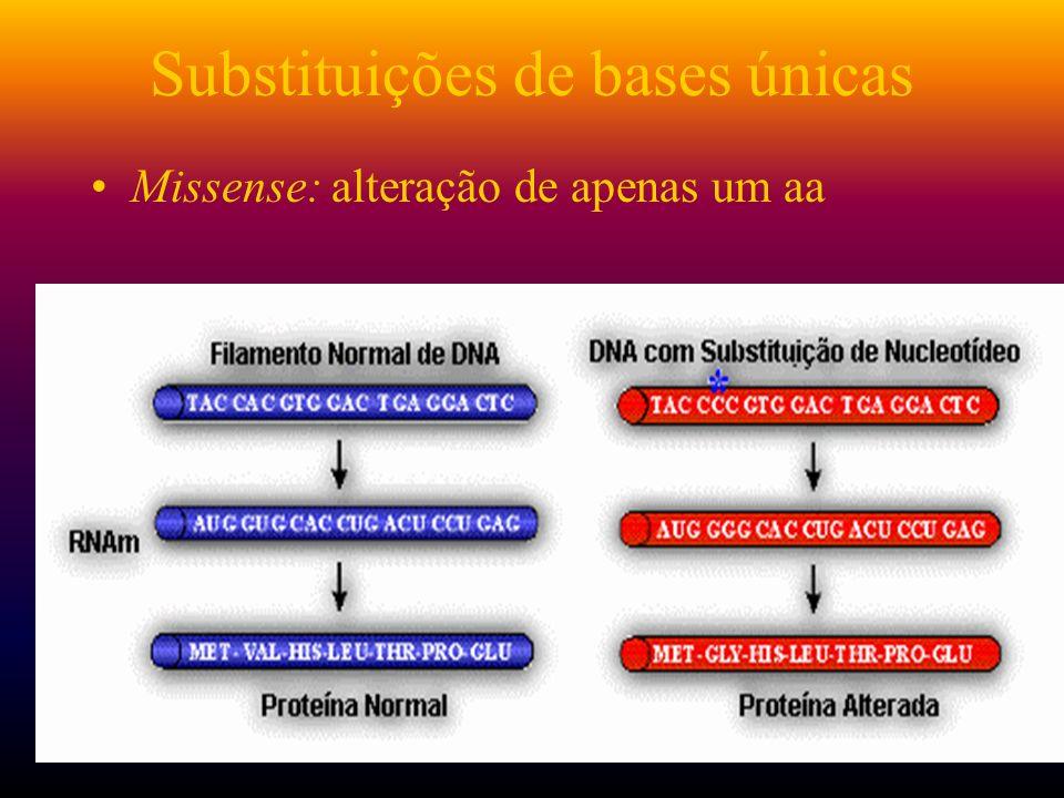 Substituições de bases únicas Missense: alteração de apenas um aa