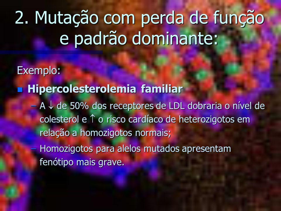 2. Mutação com perda de função e padrão dominante: Exemplo: n Hipercolesterolemia familiar –A de 50% dos receptores de LDL dobraria o nível de coleste