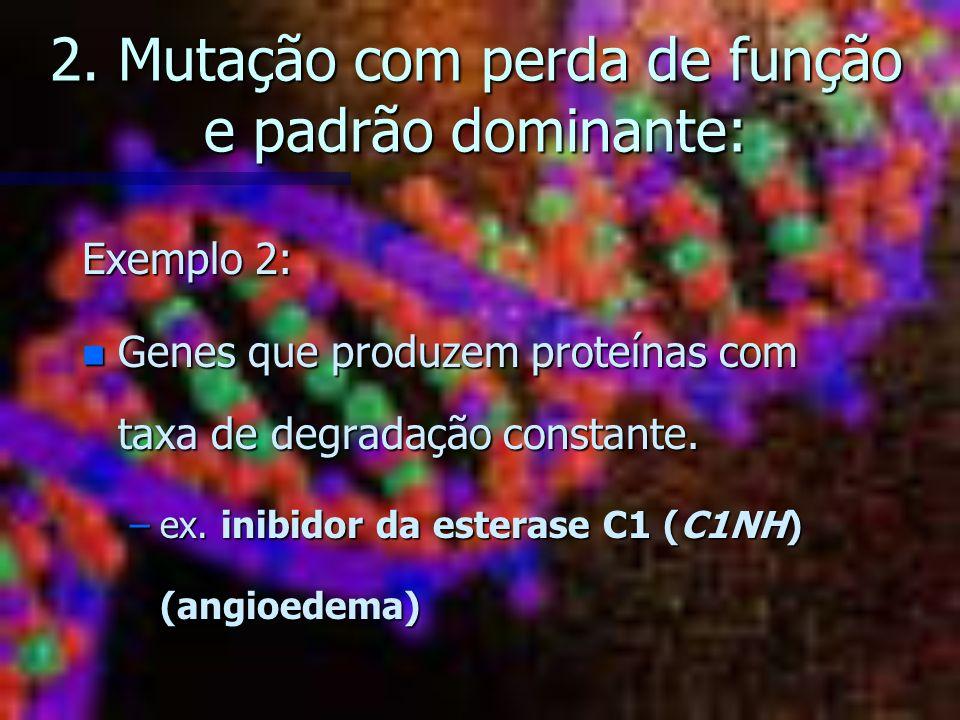 2. Mutação com perda de função e padrão dominante: Exemplo 2: n Genes que produzem proteínas com taxa de degradação constante. –ex. inibidor da estera