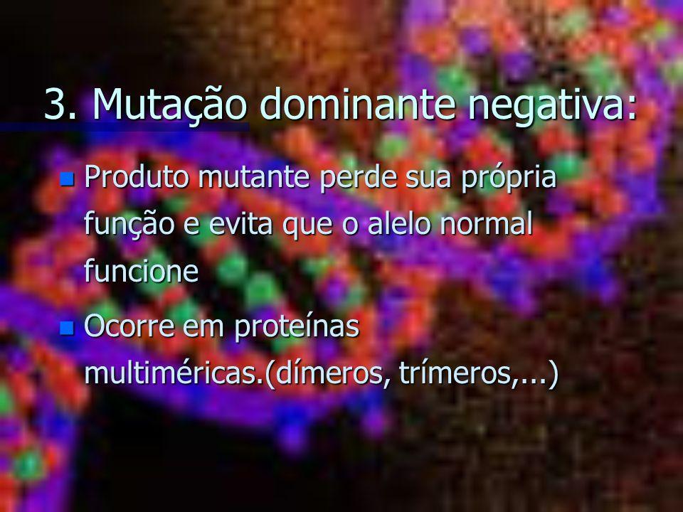 3. Mutação dominante negativa: n Produto mutante perde sua própria função e evita que o alelo normal funcione n Ocorre em proteínas multiméricas.(díme