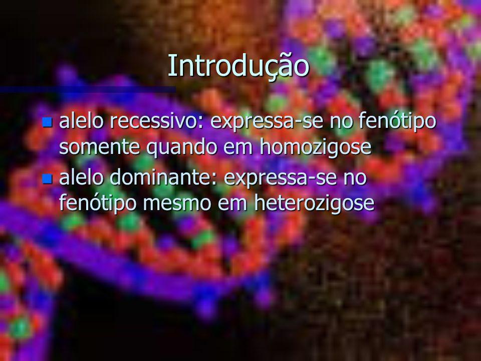 Introdução n alelo recessivo: expressa-se no fenótipo somente quando em homozigose n alelo dominante: expressa-se no fenótipo mesmo em heterozigose