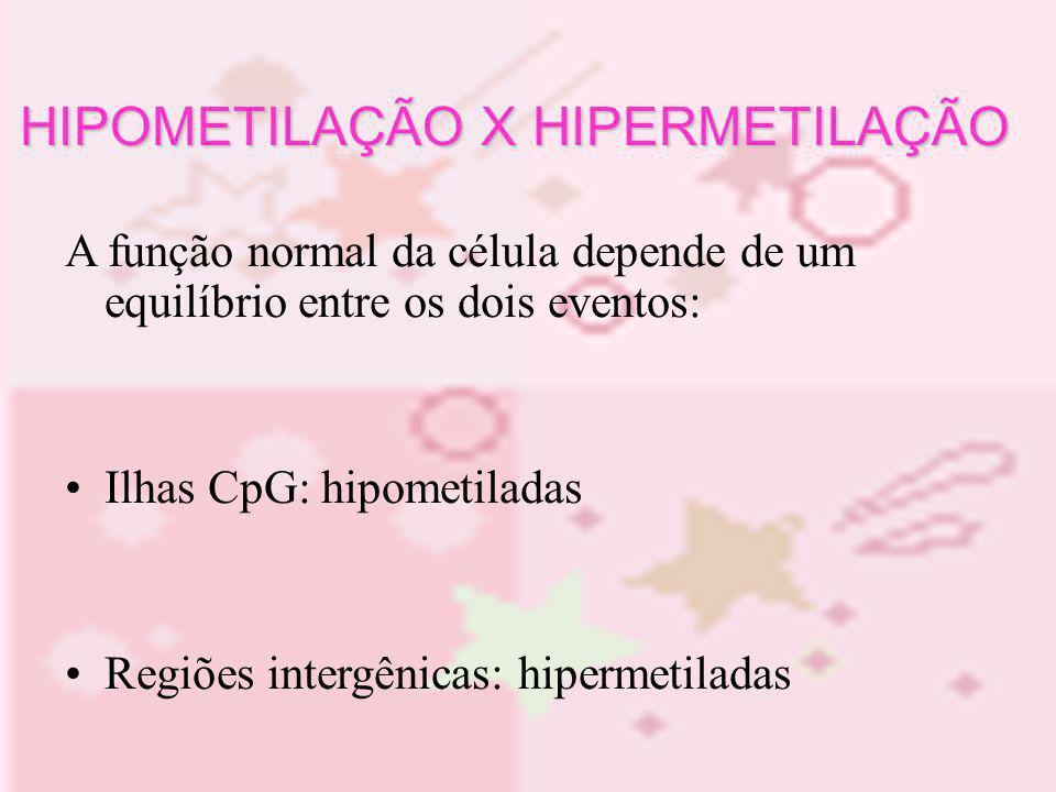 A função normal da célula depende de um equilíbrio entre os dois eventos: Ilhas CpG: hipometiladas Regiões intergênicas: hipermetiladas HIPOMETILAÇÃO