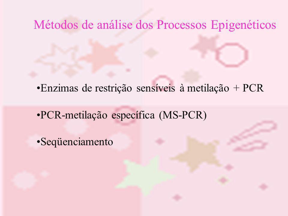 Métodos de análise dos Processos Epigenéticos Enzimas de restrição sensíveis à metilação + PCR PCR-metilação específica (MS-PCR) Seqüenciamento