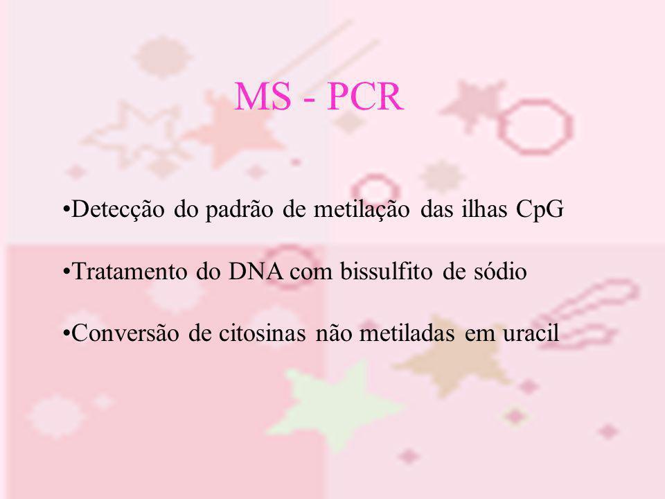 MS - PCR Detecção do padrão de metilação das ilhas CpG Tratamento do DNA com bissulfito de sódio Conversão de citosinas não metiladas em uracil