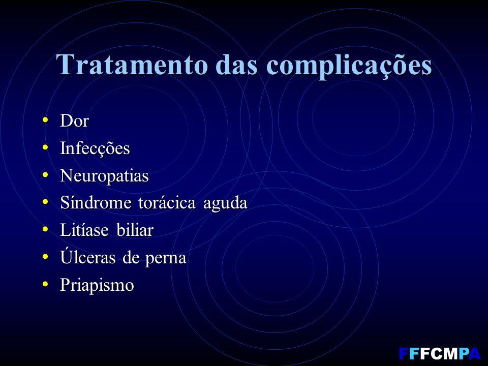 Tratamento das complicações Dor Dor Infecções Infecções Neuropatias Neuropatias Síndrome torácica aguda Síndrome torácica aguda Litíase biliar Litíase