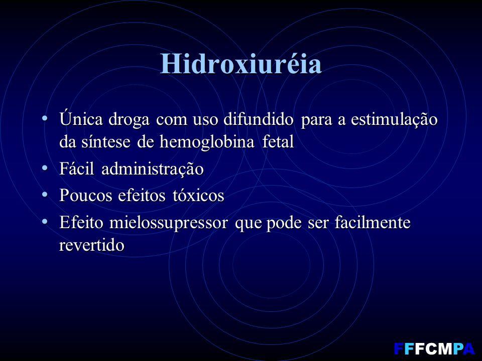 Hidroxiuréia Única droga com uso difundido para a estimulação da síntese de hemoglobina fetal Única droga com uso difundido para a estimulação da sínt