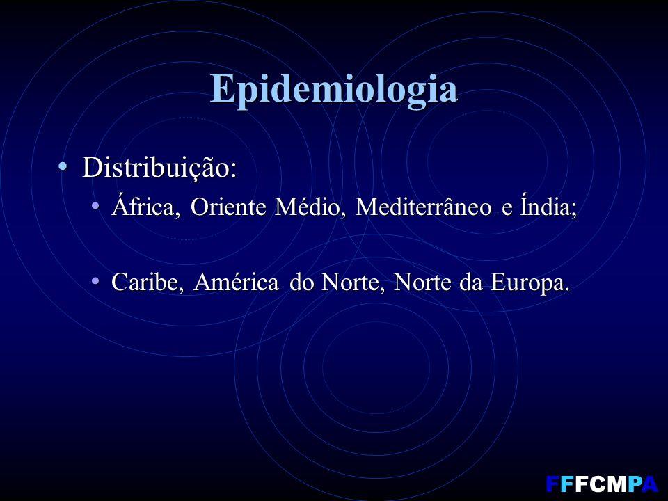 Epidemiologia Distribuição: Distribuição: África, Oriente Médio, Mediterrâneo e Índia; África, Oriente Médio, Mediterrâneo e Índia; Caribe, América do Norte, Norte da Europa.