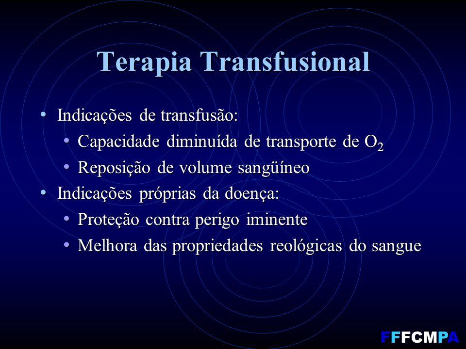 Terapia Transfusional Indicações de transfusão: Indicações de transfusão: Capacidade diminuída de transporte de O 2 Capacidade diminuída de transporte de O 2 Reposição de volume sangüíneo Reposição de volume sangüíneo Indicações próprias da doença: Indicações próprias da doença: Proteção contra perigo iminente Proteção contra perigo iminente Melhora das propriedades reológicas do sangue Melhora das propriedades reológicas do sangue FFFCMPA