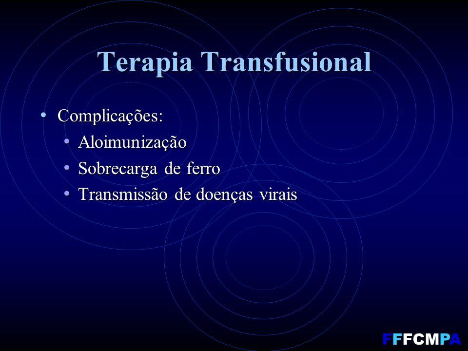 Terapia Transfusional Complicações: Complicações: Aloimunização Aloimunização Sobrecarga de ferro Sobrecarga de ferro Transmissão de doenças virais Transmissão de doenças virais FFFCMPA