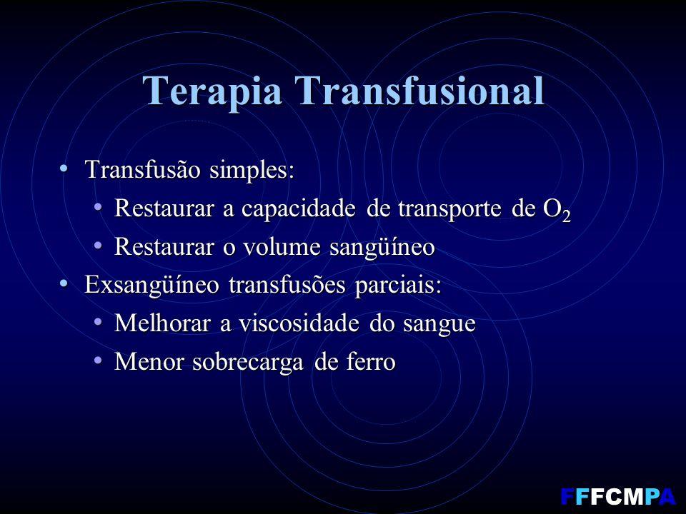 Terapia Transfusional Transfusão simples: Transfusão simples: Restaurar a capacidade de transporte de O 2 Restaurar a capacidade de transporte de O 2 Restaurar o volume sangüíneo Restaurar o volume sangüíneo Exsangüíneo transfusões parciais: Exsangüíneo transfusões parciais: Melhorar a viscosidade do sangue Melhorar a viscosidade do sangue Menor sobrecarga de ferro Menor sobrecarga de ferro FFFCMPA