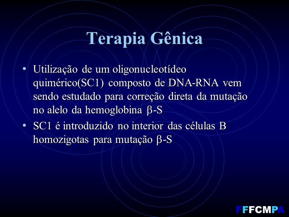 Terapia Gênica Utilização de um oligonucleotídeo quimérico(SC1) composto de DNA-RNA vem sendo estudado para correção direta da mutação no alelo da hem