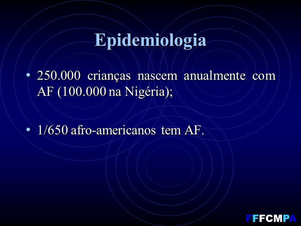 Epidemiologia 250.000 crianças nascem anualmente com AF (100.000 na Nigéria); 250.000 crianças nascem anualmente com AF (100.000 na Nigéria); 1/650 afro-americanos tem AF.