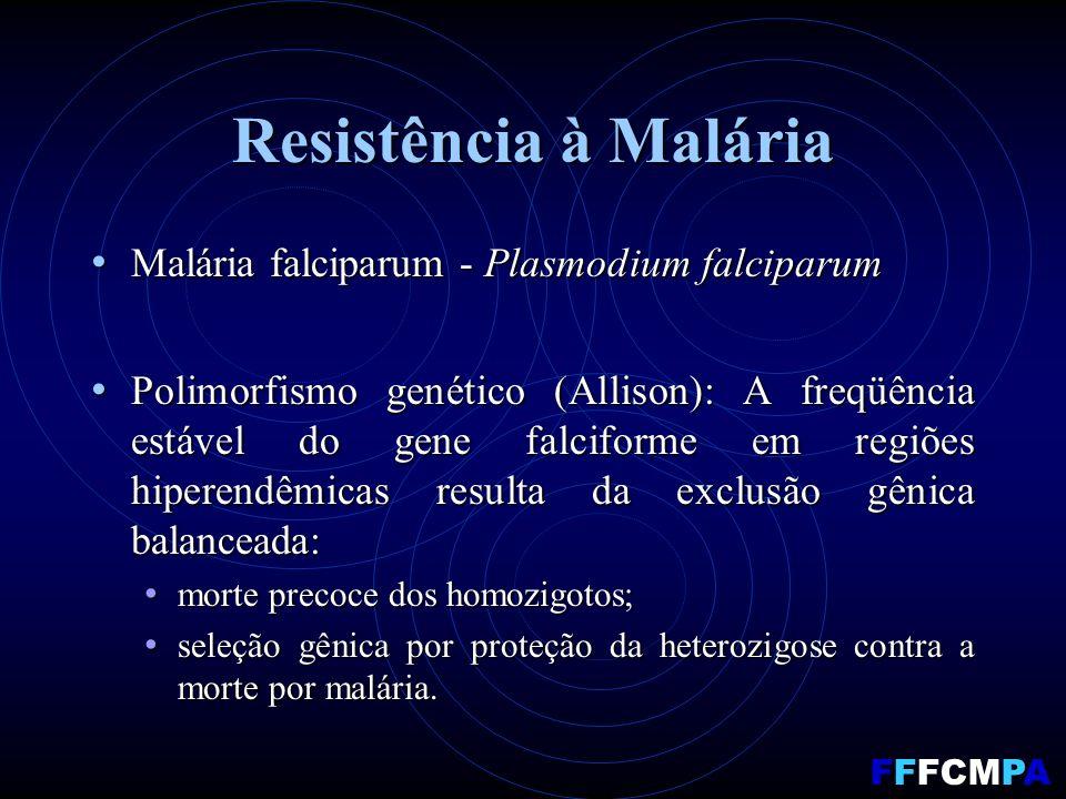 Resistência à Malária Malária falciparum - Plasmodium falciparum Malária falciparum - Plasmodium falciparum Polimorfismo genético (Allison): A freqüência estável do gene falciforme em regiões hiperendêmicas resulta da exclusão gênica balanceada: Polimorfismo genético (Allison): A freqüência estável do gene falciforme em regiões hiperendêmicas resulta da exclusão gênica balanceada: morte precoce dos homozigotos; morte precoce dos homozigotos; seleção gênica por proteção da heterozigose contra a morte por malária.