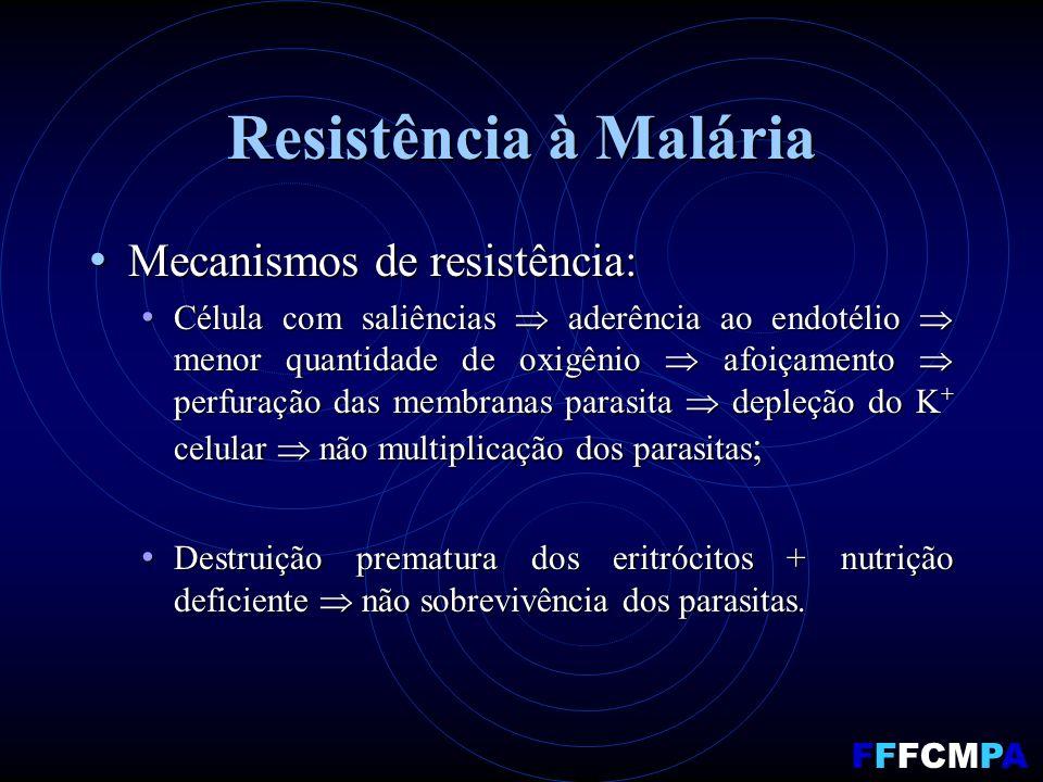 Resistência à Malária Mecanismos de resistência: Mecanismos de resistência: Célula com saliências aderência ao endotélio menor quantidade de oxigênio afoiçamento perfuração das membranas parasita depleção do K + celular não multiplicação dos parasitas ; Célula com saliências aderência ao endotélio menor quantidade de oxigênio afoiçamento perfuração das membranas parasita depleção do K + celular não multiplicação dos parasitas ; Destruição prematura dos eritrócitos + nutrição deficiente não sobrevivência dos parasitas.