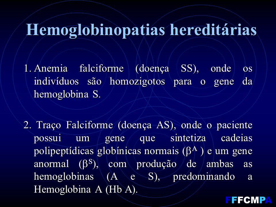 Hemoglobinopatias hereditárias 1.Anemia falciforme (doença SS), onde os indivíduos são homozigotos para o gene da hemoglobina S. 2. Traço Falciforme (