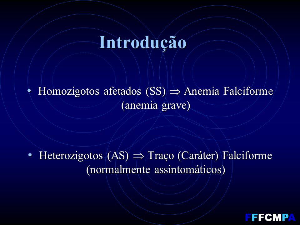 Introdução Homozigotos afetados (SS) Anemia Falciforme (anemia grave) Homozigotos afetados (SS) Anemia Falciforme (anemia grave) Heterozigotos (AS) Traço (Caráter) Falciforme (normalmente assintomáticos) Heterozigotos (AS) Traço (Caráter) Falciforme (normalmente assintomáticos) FFFCMPA