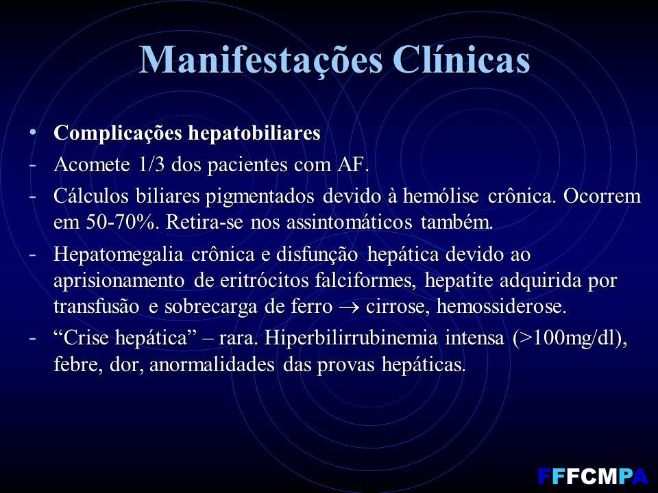 Manifestações Clínicas Complicações hepatobiliares Complicações hepatobiliares - Acomete 1/3 dos pacientes com AF. - Cálculos biliares pigmentados dev