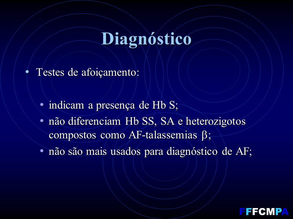 Diagnóstico Testes de afoiçamento: Testes de afoiçamento: indicam a presença de Hb S; indicam a presença de Hb S; não diferenciam Hb SS, SA e heterozigotos compostos como AF-talassemias ; não diferenciam Hb SS, SA e heterozigotos compostos como AF-talassemias ; não são mais usados para diagnóstico de AF; não são mais usados para diagnóstico de AF; FFFCMPA