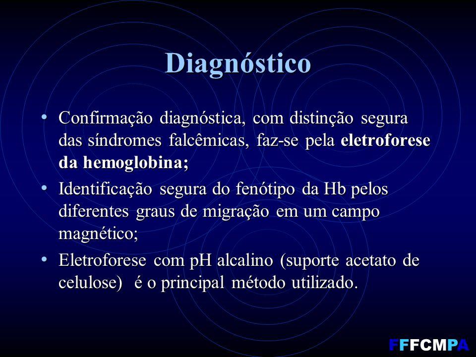 Diagnóstico Confirmação diagnóstica, com distinção segura das síndromes falcêmicas, faz-se pela eletroforese da hemoglobina; Confirmação diagnóstica, com distinção segura das síndromes falcêmicas, faz-se pela eletroforese da hemoglobina; Identificação segura do fenótipo da Hb pelos diferentes graus de migração em um campo magnético; Identificação segura do fenótipo da Hb pelos diferentes graus de migração em um campo magnético; Eletroforese com pH alcalino (suporte acetato de celulose) é o principal método utilizado.