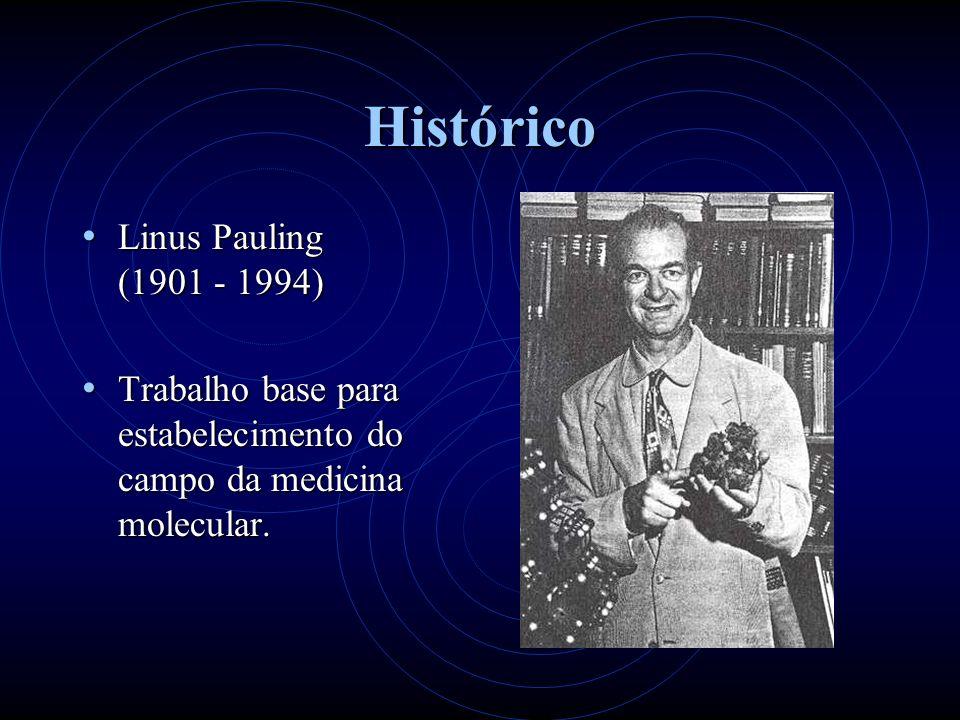 Histórico Linus Pauling (1901 - 1994) Linus Pauling (1901 - 1994) Trabalho base para estabelecimento do campo da medicina molecular.