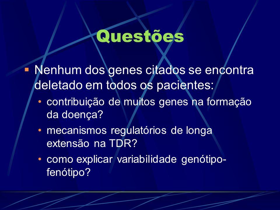 Questões Nenhum dos genes citados se encontra deletado em todos os pacientes: contribuição de muitos genes na formação da doença? mecanismos regulatór